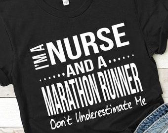 813fac023362 Funny Nurse Marathon Runner Short-Sleeve Unisex T-Shirt Running Gift Lpn Rn  Cna Half Marathon