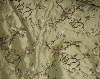 Exquisite 100% Silk Shantung Embroidery By The Yard.