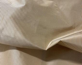 """100% Silk Taffeta Stripes In Camel/Cream. 54-55"""" Wide, By The Yard."""