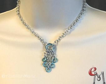 Love Knot Necklace, Blue and Silver Necklace, Aqua Rosette Necklace, Mobius Chain maille Necklace, Love knot Jewelry, Vintage inspired