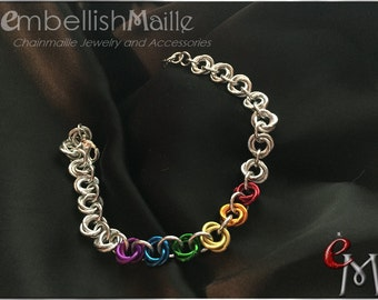 Colorful Rainbow Rosettes Chainmaille Bracelet/Anklet ~Cute and colorful! This bracelet makes a great accessory for just about any outfit!