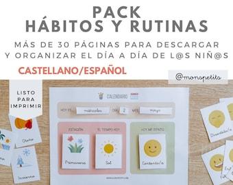 Pack de Hábitos y Rutinas Descargable para Niños en CASTELLANO/ESPAÑOL - Planificador de Horarios y Tareas - Actividades Educación Infantil