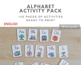 Alphabet Activity Pack in ENGLISH - Printable for kids - Homeschooling - Preschool Education - Teacher Material