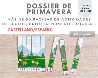 Dossier de Actividades de Primavera - Descargable para Niños CASTELLANO/ESPAÑOL - Actividades de letras - Printable - Educación Infantil