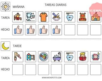 Plantilla de Tareas Diarias - Español - Hábitos y rutinas para Niños - Imprimible educativo