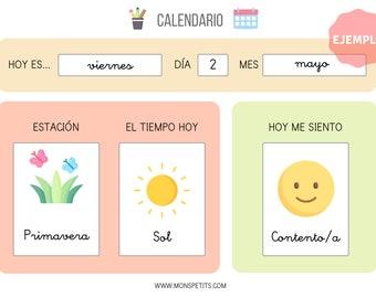Calendario Días de la Semana y Emociones - Español - Hábitos y rutinas para Niños - Imprimible educativo