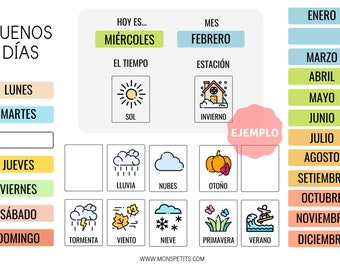 "Calendario Descargable ""Buenos Días"" Español - Hábitos y rutinas para Niños - Imprimible educativo"