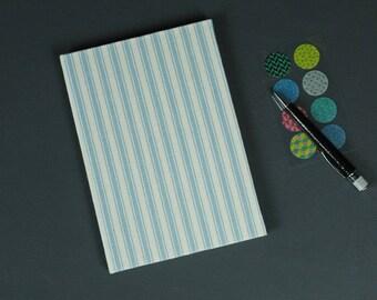 Blue address book DIN A5, addressbook, personalized address book, telephone register, address book blue white, stripes,