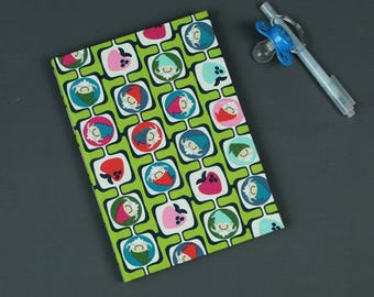 Fabric-related baby diary, Baby diary, personalized, gift baptism, christening, children's sayings, birth, cotton fabric green, dwarfs