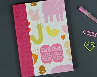 Baby shower, Baby Diary related material, memories of the first year, notebook, Children's mouth, gift for baptism, Pink and animals