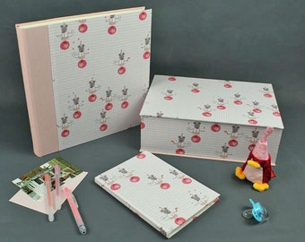 baby keepsake box, pink baby box, baby album, baby diary, its a girl, Baby memories, mom to be, christening gift, baby shower, pink mice