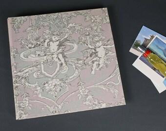 Photo album wedding, light pink photo album, customizable, fabric photo album, baptism gift, photo album light pink cream, toile de jouy