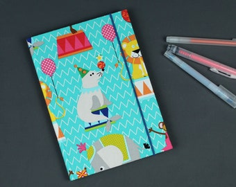 Fabric-related diary, personalized, baby diary, notebook, gift children sayings, birth, baptism, cotton turquoise, polar bear