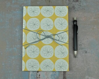 personalised notebook, travel diary, bullet journal, note book, diary, fabric-based notebook, notebook, yellow white