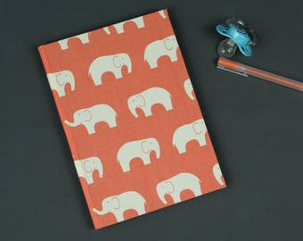 Christening gift, baby diary, commemorative volume for the first year of the baby, my first words, notebook, mouth, birth, salmon with elephants