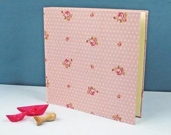 Wedding photo album, baby photo album, personalized, fabric-covered photo album, baptism gift, photo album pink, white, dotted with roses