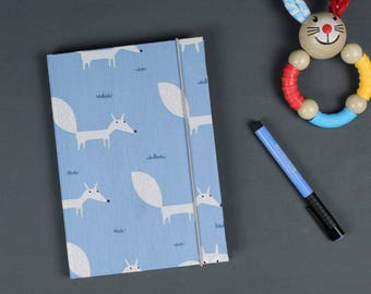 Baby diary fox, baby shower, personalized, christening gift, kids sayings, birth, cotton fabric, light blue with white foxes