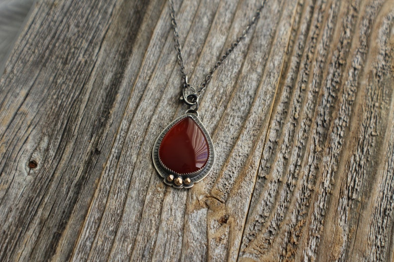 Red Carnelian Pendant with 14K Gold Accents