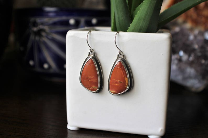 OOAK Earrings Gemstone Gorgeous Sunsets of Cherry Creek Jasper Cabochons in .925 Sterling Silver with Hand Notched Details and Dark Patina