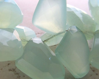 Mint Green Chalcedony Faceted Freeform Briolettes 15 X 12mm - 4 inch Strand