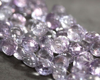 Lavender Quartz Briolette Beads Lilac Mystic Quartz Faceted Fat Pudgy Onion Briolettes 8mm Earring Pairs Brios 8 inch Strand