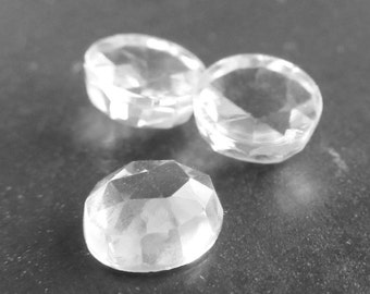 Crystal Clear Topaz Rose Cut Polished 6mm Round Cabochons - 8 Pieces