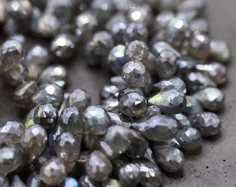 Mystic Labradorite Briolette Beads, Faceted Blue Flash Silver Labradorite 9 X 6mm Full Teardrop Briolettes Shimmering AB - 8 inch Strand