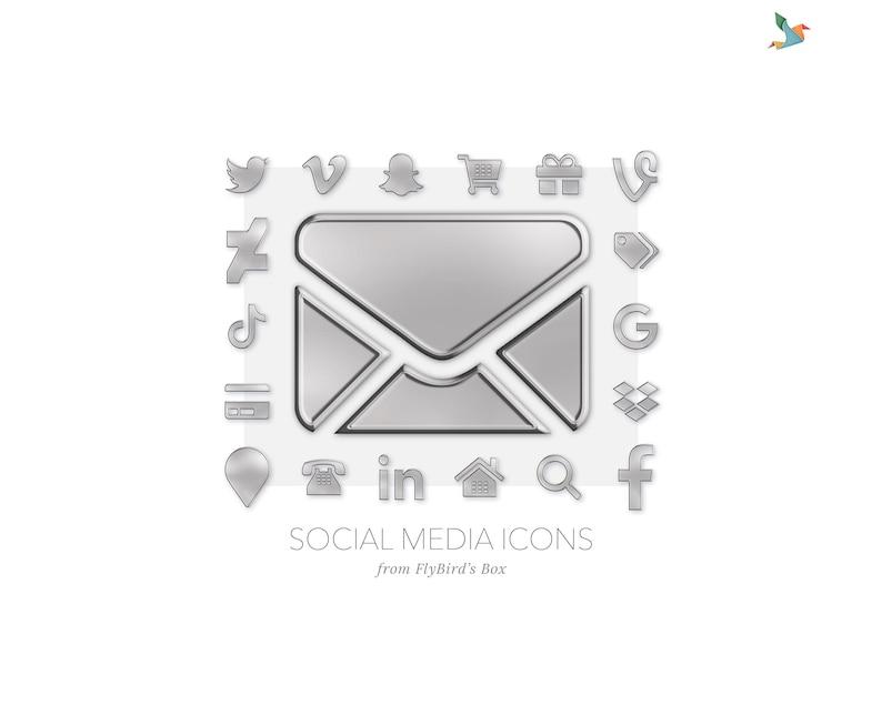 Social media icons  silver / metal image 0