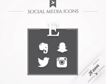 "Social media icons ""Minimal"" - white"