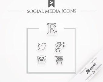 "Social media icons ""Zen"" - simple, minimal web buttons"