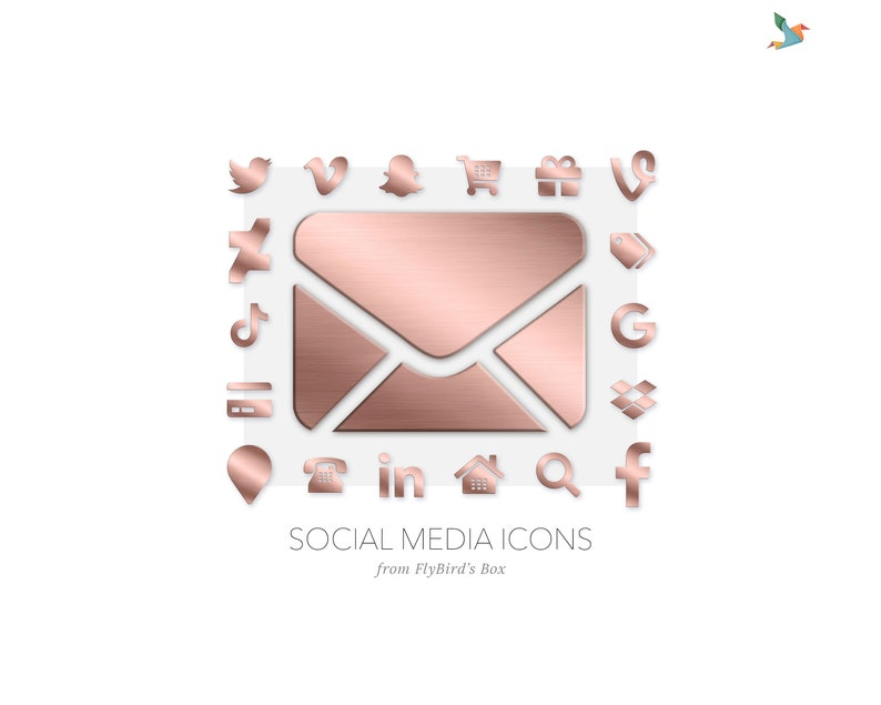 Social media and website icons  rose gold image 0