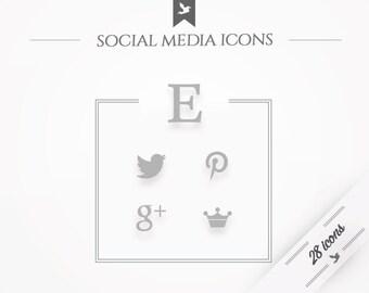 "Social media icons ""Monochromatic Chic"" - gray"