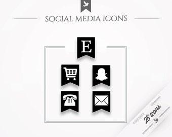 "Social media icons ""Pennant"" - black"