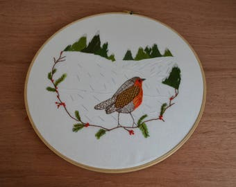 Christmas Robin wreath hand stitched embroidery hoop art