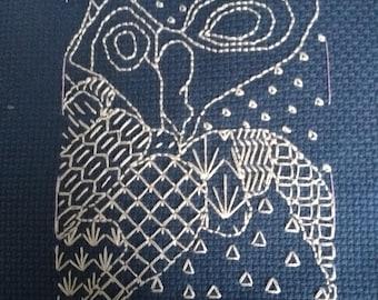 Blackwork owl hand embroidery pattern