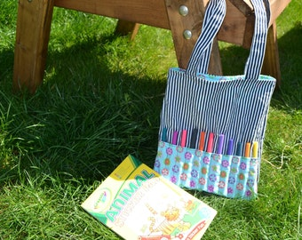 Flower power child's tote bag with pen roll