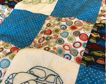 Car single bed child's quilt with hand embroidery