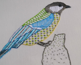 DIGITAL DOWNLOAD; Great tit embroidery pattern
