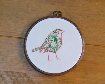 Christmas Robin hand embroidery