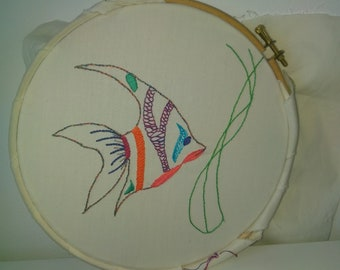 Beginners fish surface hand embroidery pattern