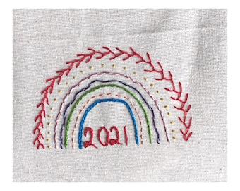 DIGITAL DOWNLOAD Rainbow 2021 beginners embroidery pattern