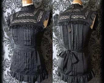Gothic Black High Neck Lace Bib VICTORIAN GOVERNESS Satin Sash Top 10 12 Vintage