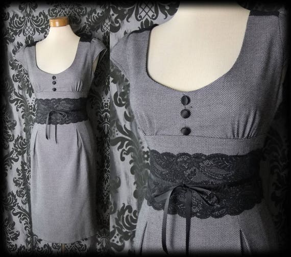 Gothic Grey Black Lace Fitted DALLIANCE Dress 8 10