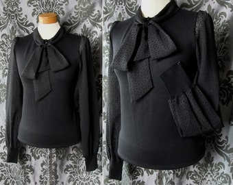 Corporate Goth Black Fine Knit DECEPTION Pussy Bow Blouse Top 10 12 Governess Vintage