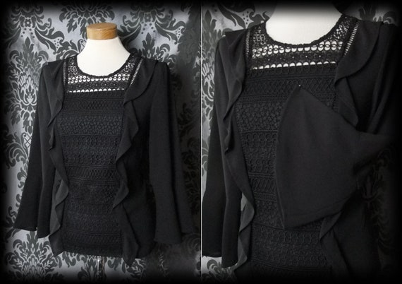 Gothic Black Lace Frill Panel DESPERATION Blouse 6
