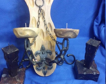 Spain Carved Wood Candle Holders
