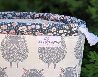 FARM CHARM Sheep Project Bag, Standing Drawstring Bag, Travel Bag, Gift Bag, Yarn Bin