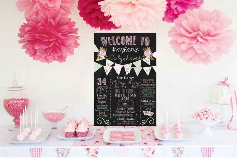 Shabby Chic Baby Shower Chalkboard Poster Mint And Pink Baby Shower Customized Printable Baby Shower Info Sign Digital File You Print