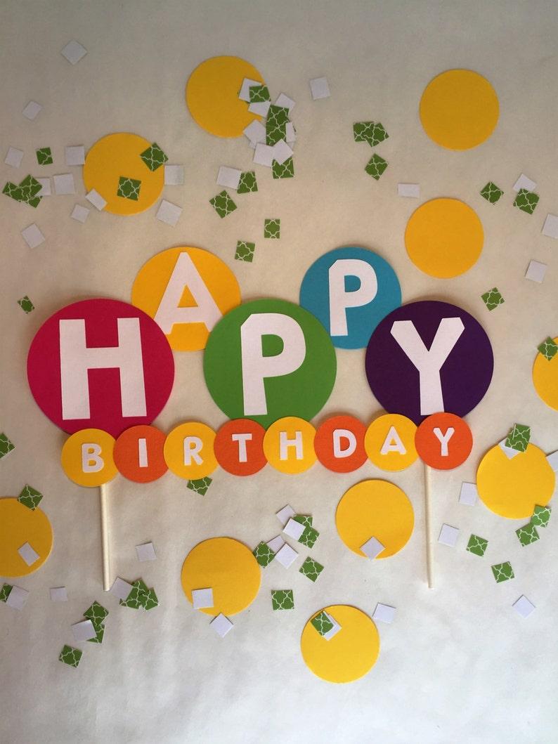 Rainbow Happy Birthday Cake Topper Party Boys