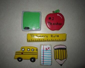 12 Teacher/School Decorated Cookies